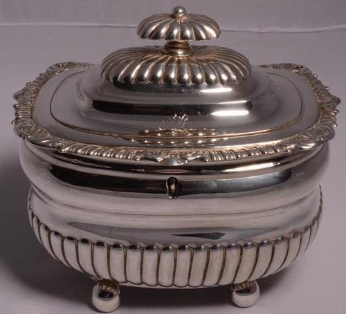 Fine George III Large Silver Tea Caddy by London Silversmiths J. W. Story & W. Elliott, 1811 (1 of 9)