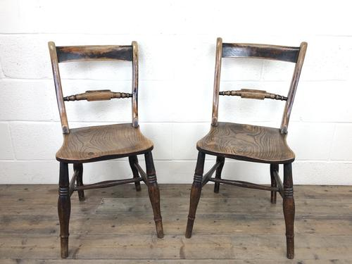 Pair of 19th Century Elm Bar Back Farmhouse Chairs (1 of 7)