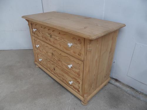Georgian Pretty Moulded Antique Pine Chest of Drawers to wax / paint (1 of 13)