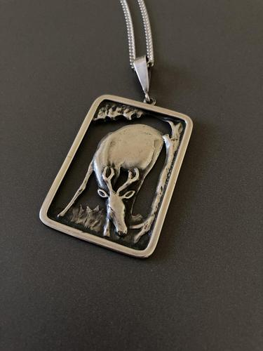 Danish Silver Pendant with Grazing Stag 1940s (1 of 5)