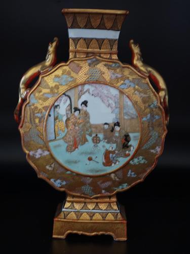 Late 19th Century Kutani Porcelain, Moon Shaped Vase (1 of 6)