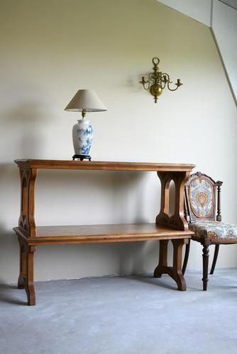 Victorian Gothic Oak Two Tier Serving Buffet Table (1 of 11)