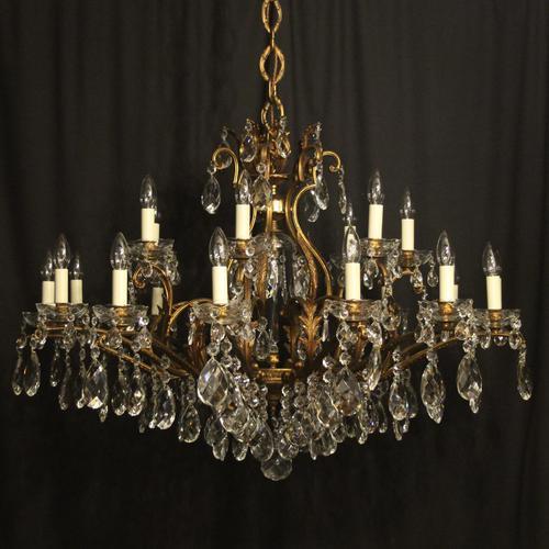 Italian Gilt & Crystal 22 Light Antique Chandelier (1 of 10)