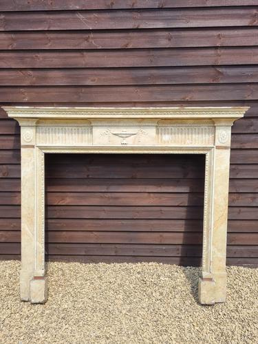 19th Century Wood Fire Surround Painted in Faux Marble (1 of 3)