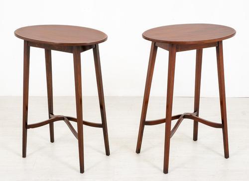 Pair of Mahogany Sheraton Revival Occasional Tables (1 of 7)