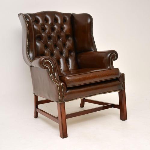 Antique Georgian  Style  Leather Wing Back Armchair (1 of 10)