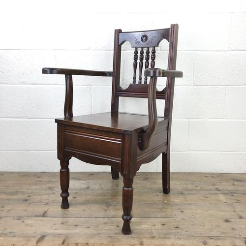 Antique Edwardian Mahogany Commode Armchair (1 of 9)