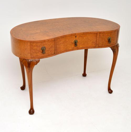 Antique Burr Walnut Kidney Shaped Desk or Dressing Table by Waring & Gillows (1 of 12)