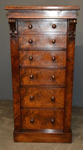 Burr walnut Wellington chest (1 of 4)