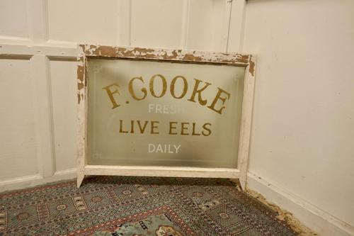 Live Eel & Pie Shop Window, Etched Glass Advertising Sign (1 of 6)
