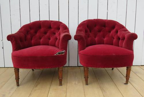 Pair of Antique French Button Back Chairs (1 of 9)