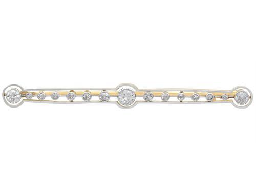 0.77 ct Diamond & 18ct Yellow Gold Bar Brooch - Antique c.1910 (1 of 9)