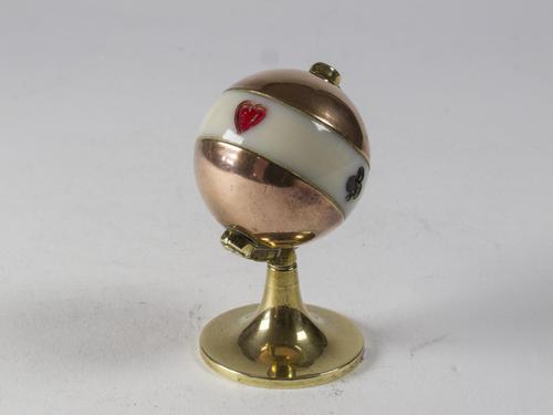 Art Deco Brass & Copper Globe Shaped Bridge or Whist Trumps Marker (1 of 4)