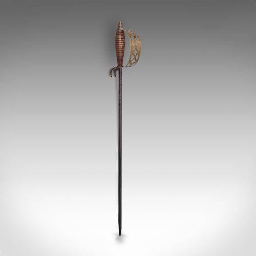 Antique Sword Poker, English, Oak, Brass, Steel, Fireside Tool, Edwardian, 1910 (1 of 12)