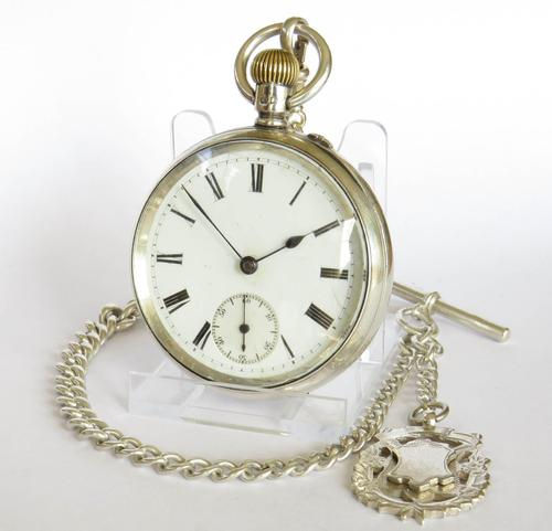 Antique Silver Marks Pocket Watch & Chain (1 of 5)