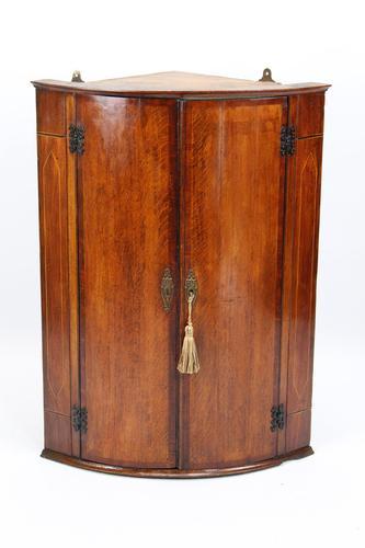 Georgian Oak Bow Front Corner Cupboard (1 of 13)