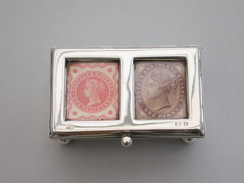 Victorian Silver Twin Compartment Stamp Box by Grey & Co, Birmingham 1897 (1 of 12)
