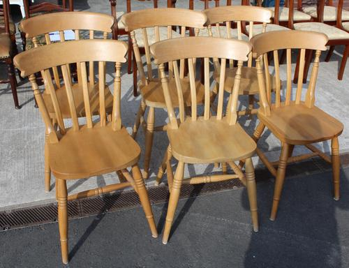 1960's Set 6 Beech Kitchen Chairs (1 of 3)