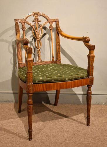 19th Century Carved Armchair in Satin Birch & Satinwood (1 of 7)