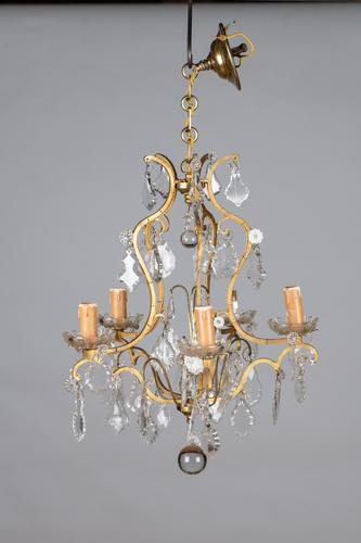 Lovely French Glass & Brass Five Arm Chandelier (1 of 7)
