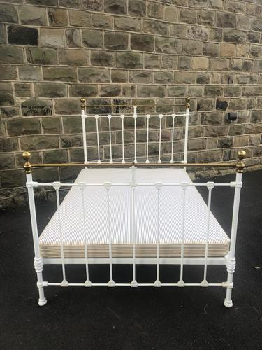Antique Victorian Brass & Iron Double Bed (1 of 10)