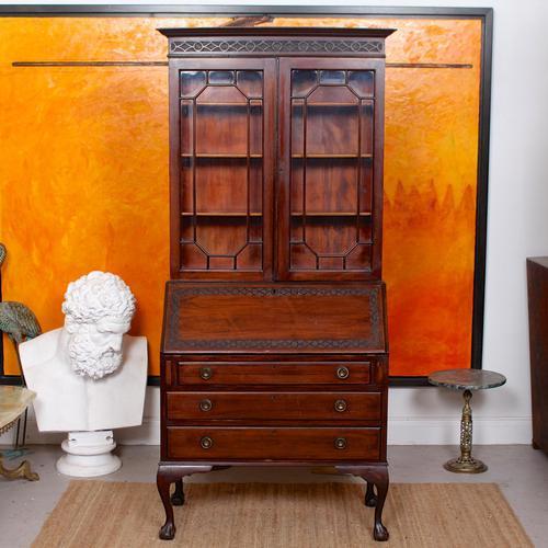 Secretaire Bureau Bookcase Astragal Glazed Mahogany Library Cabinet Edwardian (1 of 14)