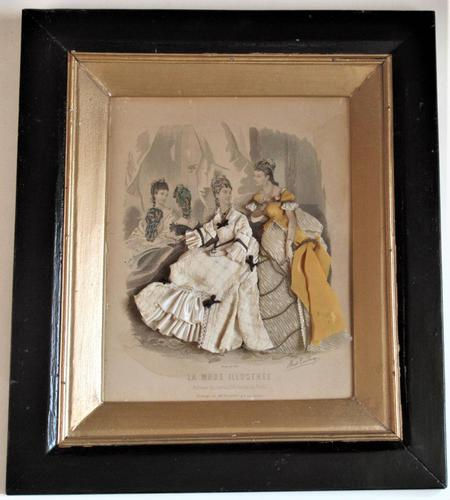 Antique Victorian 3-D Fashion Picture in Original Frame c1875 (1 of 12)