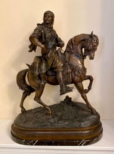 Large 19th Century French Patinated Spelter of 'Cavalier Arabe' (1 of 6)