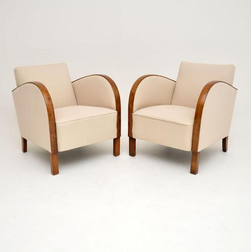 Pair of Art Deco  Swedish  Satin Birch Armchairs (1 of 7)