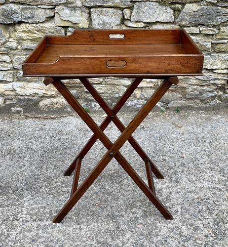 Small Antique Mahogany Butlers Tray on Stand (1 of 15)