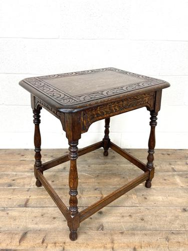 Early 20th Century Antique Oak Carved Side Table (1 of 10)