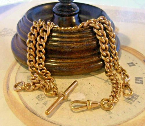 Victorian Pocket Watch Chain 1890 Antique 12ct Rose Rolled Gold Albert & T Bar (1 of 11)