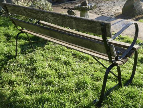 Old Weathered Oak and Iron 6 Bar Garden Bench (1 of 6)