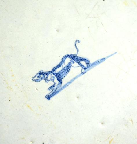 17th / 18th Century Delft Blue & White Tile with Dog (1 of 6)
