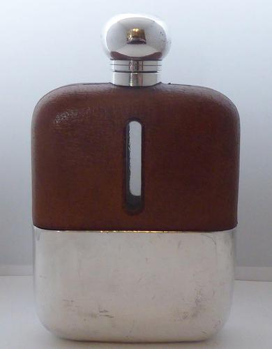 1930's Silver Plate Plated Leather Bound Glass Hip Flask James Dixon (1 of 11)