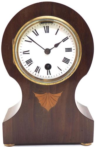 Fine Mahogany Edwardian Lancet Clock Burr Walnut Inlay Timepiece Mantel Clock (1 of 9)