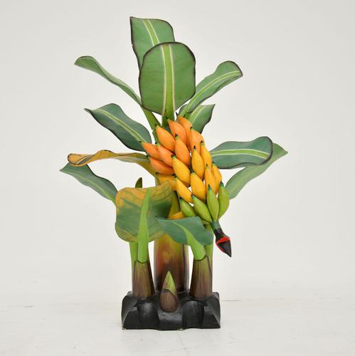 Vintage South Amercian Carved Wood Banana Tree Sculpture (1 of 10)