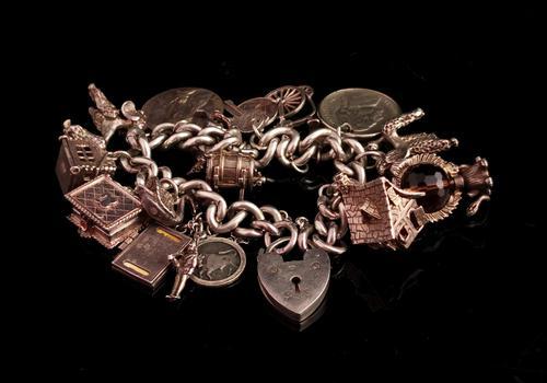 Vintage Sterling Silver Charm Bracelet, 1960s - Heavy (1 of 12)