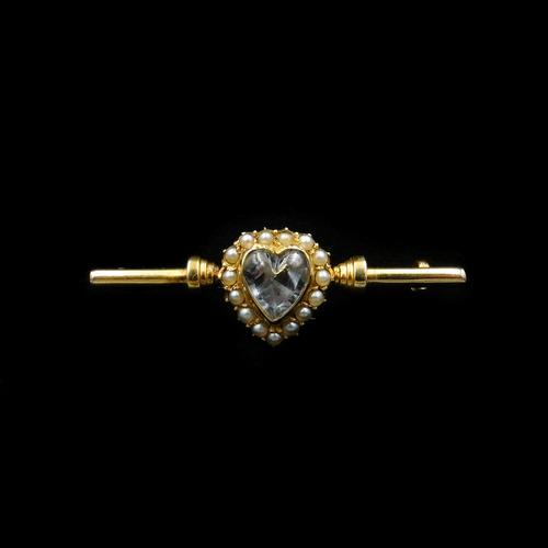 Antique Pearl & Rock Crystal Heart 15ct Gold Bar Brooch (1 of 12)