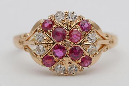 Early 20th Century 18ct Gold Ruby & Diamond Dress Ring (1 of 3)