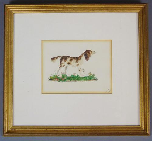 Charming Antique Watercolour of Spaniel Embossed (1 of 4)