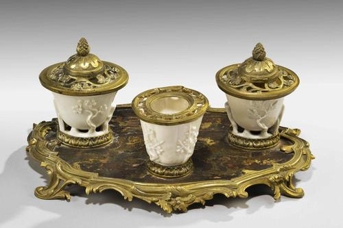 Rare 19th Century Gilt Bronze & Chinese Lacquered Inkwell (1 of 8)