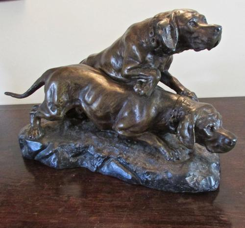 Large Sculpture of Spelter Hunting  Dogs By T.  Cartier with a  Bronzed Finish (1 of 7)