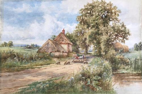 Watercolour by Henry.J. Kinnaird 'A lane near Angmering,Sussex' c1885 (1 of 1)