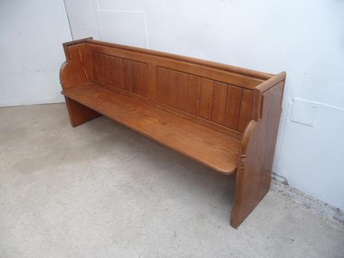 Original Victorian Antique Pine 4 Seater Church Pew / Bench (1 of 8)