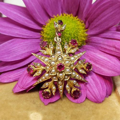 Antique Victorian 15ct Gold Pink Sapphire & Pearl Floral Star Pendant Brooch (1 of 7)