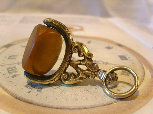 Antique Pocket Watch Chain Fob 1870s Victorian Huge Brass & Amber Stone Swivel Fob (1 of 10)