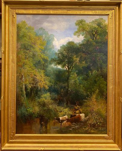 """Cattle Watering"" – Large Oil on Canvas by William Widgery (1 of 4)"