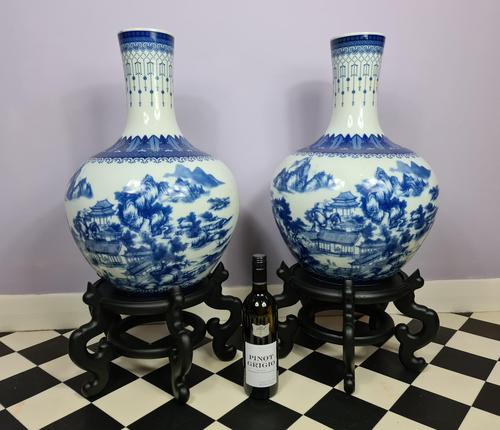 Huge Pair of 20th Century Chinese Blue & White Vases (1 of 9)