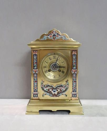 French Napoleon III Brass & Champleve Mantel Clock by Vincenti (1 of 8)
